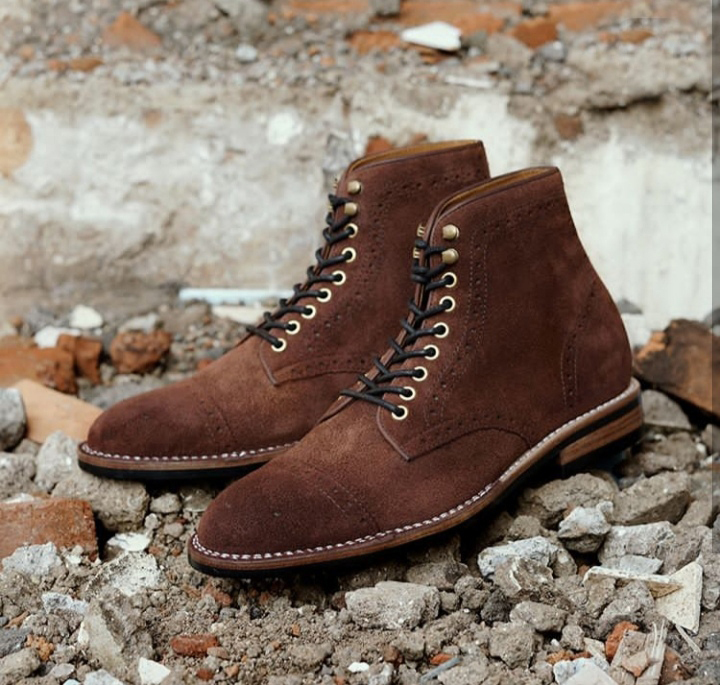 Handmade Men's Dark Brown Two Tone High Ankle Lace Up Suede Boot