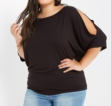 Black Cold Shoulder Top, Plus Cold Shoulder Top, Split Sleeve, Black, Plus Size