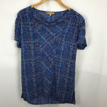 Ellen Tracy Women Blouse Dot Print Short Sleeve Cowl Neck Size M  - $16.25