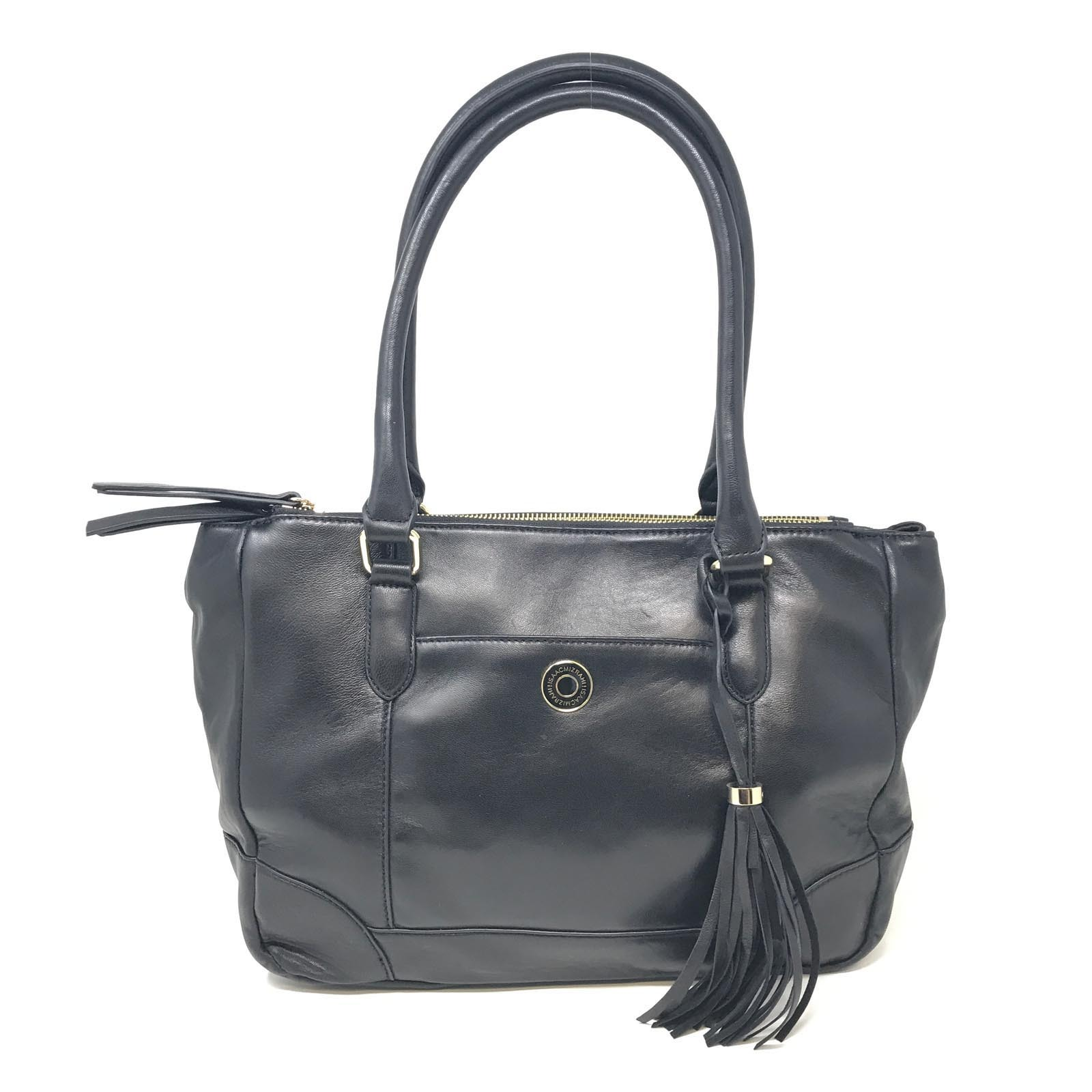 Primary image for Isaac Mizrahi Live! A256000 Bridgehampton Black Lamb Leather Tote Women's Bag
