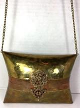 Vintage Small Solid Brass Copper Hammered Pillow Shoulder Bag Purse Red ... - $49.46