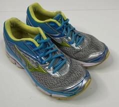 Mizuno Wave Inspire 19 Womens 7 Blue Silver Green Grey Running Shoes O7 - $14.84