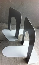Vintage Industrial Grey Metal Bookends~ No Make... - $10.98