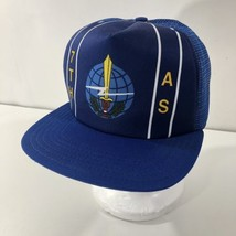 Vintage US Air Force 7th Airlift Squadron Snapback Mesh Trucker Hat Blue USAF - $34.64