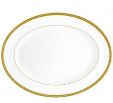 "Waterford Lismore Lace Gold Oval Serving Platter Large 15.25"" Bone China New - $134.90"