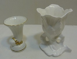 Two Small Bone China Vases Crown Staffordshire (UK) & Gold Trim (Czechos... - $31.98