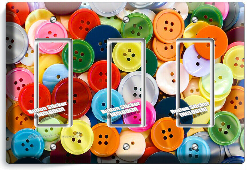 COLORFUL BUTTONS LIGHT SWITCH PLATE 3 GFCI SEWING HOBBY TAILOR STUDIO SHOP DECOR