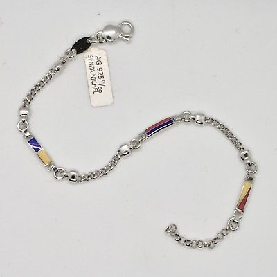 SOLID 925 RHODIUM SILVER BRACELET WITH GLAZED NAUTICAL FLAGS MADE IN ITALY 8 IN