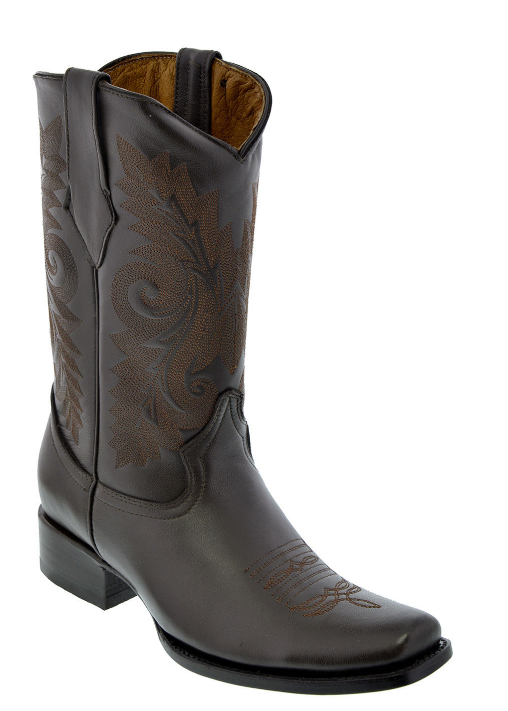 Mens Dark Brown Classic Smooth Leather Western Cowboy Boots Square Toe