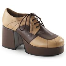 "FUNTASMA Jazz-06 3 1/2"" Block Heel Platform Oxford - Tan-Brown Pu - $61.95"