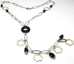 Silver 925 Necklace, Black Onyx, Pendant Flowers, Daisy, Waterfall - $165.02