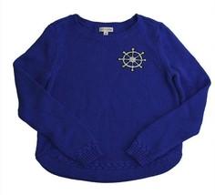 Maison Jules Women's Textured Sweatshirt Sweater Lace-trim Blue Size Small - $30.43