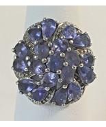 Vintage Purple Rhinestone Cocktail Ring 925 Q Silver IN LN Tanzanite or ... - $79.95