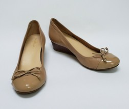 Cole Haan Womens Shoes Ballet Wedge Patent Leather Toe Bow Beige Size 7.5 B - $59.35