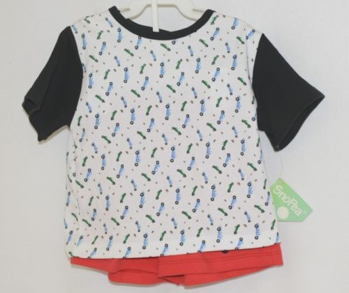 Sno Pea Boys Short Set Shirt Red Shorts Race Cars Blue Green Size 18 months