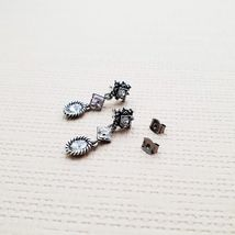 3 Tiered Oval Rhombus Dangle Earrings Made With Swarovski Stone 925 Silver Ear image 4