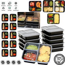 10 Meal Prep Containers Food Storage 3 Compartment Plastic Reusable Micr... - €17,96 EUR