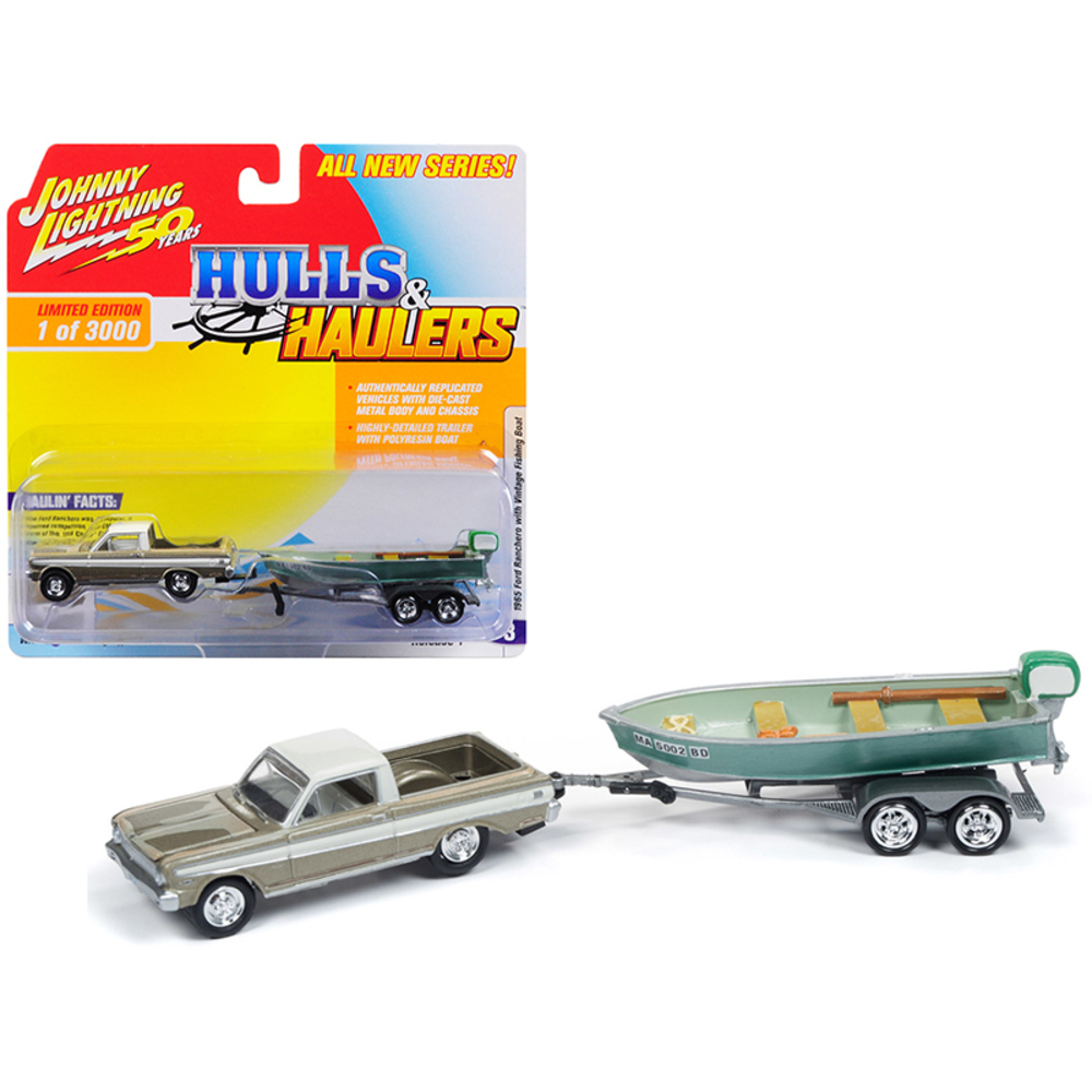 1965 Ford Ranchero Honey Gold with Cream Top (Weathered) with Vintage Fishing Bo