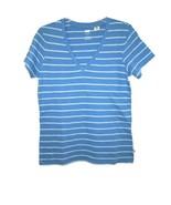 Levi's Women's Classic Heritage Striped V-Neck Tee Shirt Blue Violet, Mint Med - $14.95