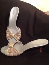 Cole Haan Multi Color 8.5M Leather Women's Blue Gold Sandals Wooden Kitten Heels - $24.74