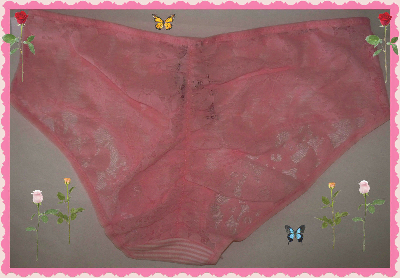 Primary image for L  PINK Stripe Victorias Secret Ruched FULL Back Lace Stretch Hiphugger Pantie