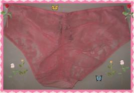 L  PINK Stripe Victorias Secret Ruched FULL Back Lace Stretch Hiphugger ... - $10.99