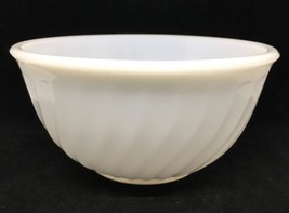 "Vintage 1950's Fire King 8"" Mixing Nesting Bowl White Swirl Milk Glass Ovenware - $14.03"