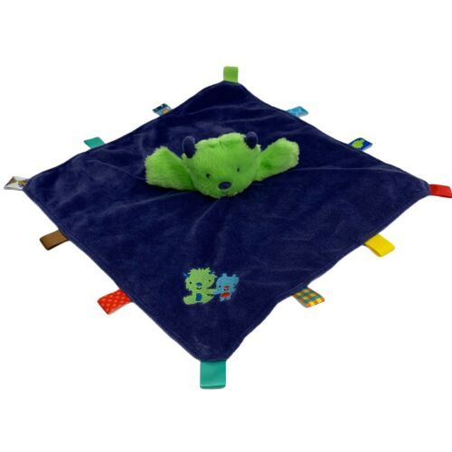Taggies Monster Alien Plush Green Blue Baby Blanket Security Lovey Rattle Toy - $19.75
