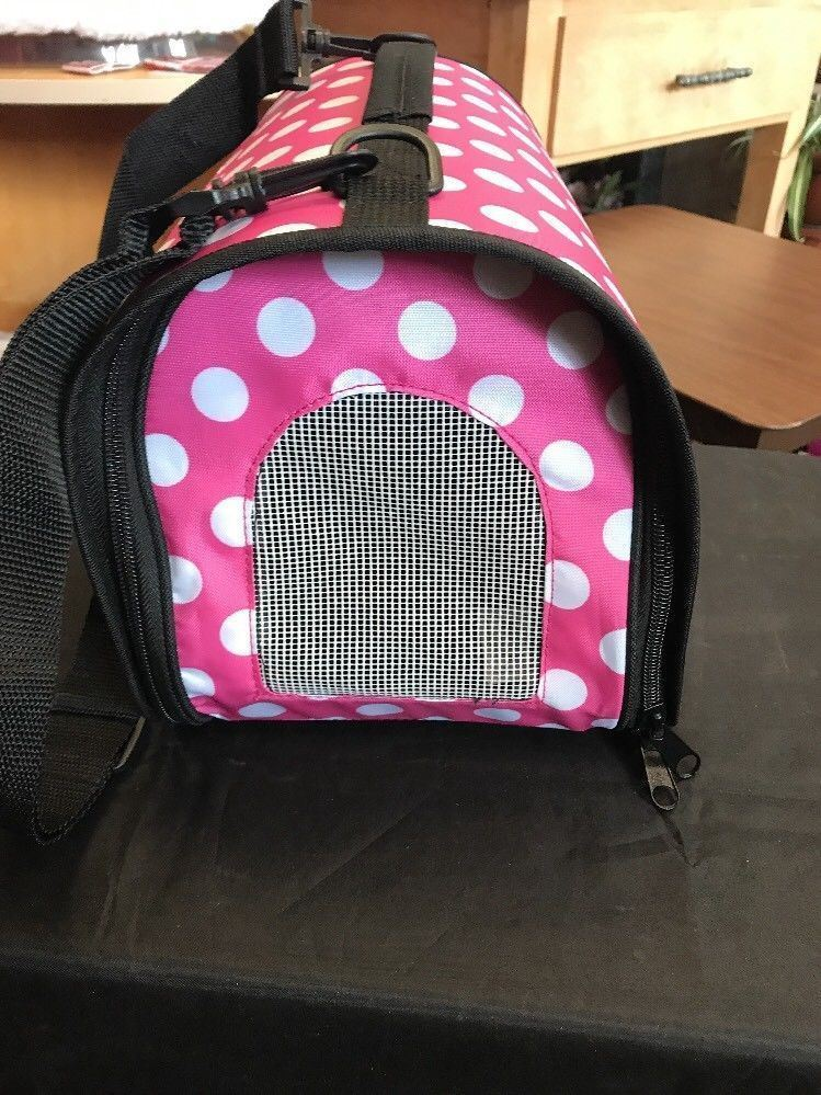 Pet Travel Carrier Pink With Big White Dots Zips Up Big Nylon Adjustable Strap