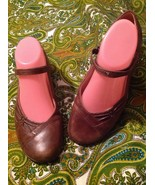 NUTURE WOMEN'S BROWN 7M BALLET MARY JANES FLATS SLIP-ON LEATHER SHOES CA... - $20.19