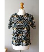 H&M Oriental Floral Boho Printed Blouse Leaves Short Sleeves, Summer Blouse - $19.99