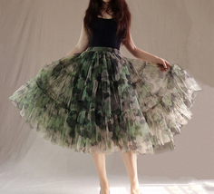 Women Knee Length Puffy Tulle Skirt Army Pattern Layered Tulle Skirt A-line Plus image 5
