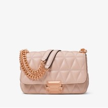 NWT Michael Kors Sloan Small Quilted Leather Shoulder Bag Soft Pink - $7.438,87 MXN