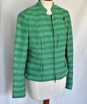 A-K-R-I-S- Top Blouse Jacket 10 Green Stripe Piping Zipper Long Sleeve P... - $285.00