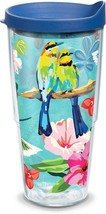 Tervis Tumbler 24OZ BRIGHT BIRDS Insulated Floral Mug Cup w Blue Travel Lid - $24.75