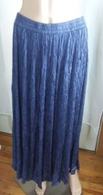 Vintage Cotton Poppy Women's Skirt Size L Broomstick Crinkle Navy Machin... - $23.36