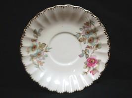 Old Vintage Saucer w Pink Blue Flowers Gold Trim & Scalloped Edges Unkno... - $8.90