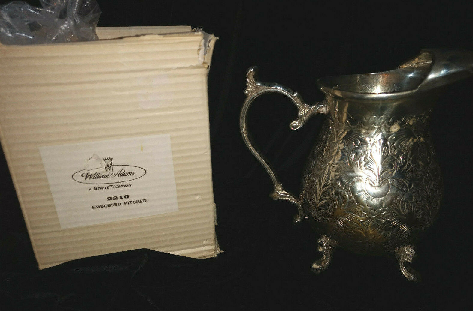 WILLIAM ADAMS A TOWLE COMPANY INDIA SILVERPLATE EMBOSSED PITCHER WITH BOX
