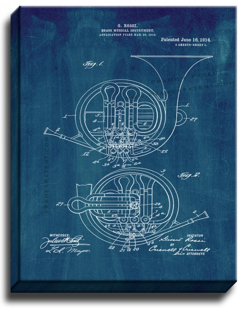 Primary image for Brass Musical Instrument Patent Print Midnight Blue on Canvas