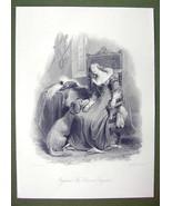 ENGLAND Young Lady Costume Dog Baron's Daughter - SUPERB Quality Print E... - $16.20