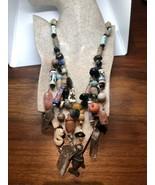 Vintage 600ms Hippie Afrikanischer Perle Quarzkristall Kragen-Halskette - $262.34