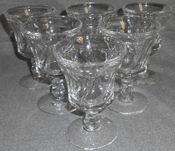 Set (6) Fostoria Glass JAMESTOWN CLEAR PATTERN Wine Stems - $31.67