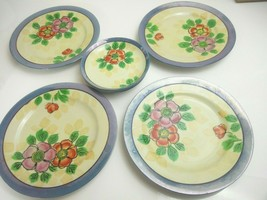 "Hand Painted Made In Japan Floral Blues 5.5"" Plates (4) and 8.25"" Plates... - $12.16"