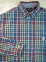 Chaps Mens Button Front Shirt Size Large Multi Color Check Casual Classic - $13.99
