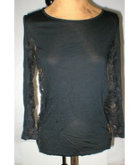 New Womens 8 NWT Designer Italy Emilio Pucci 42 Black Long Sleeve Top Lace Side - $1,109.40