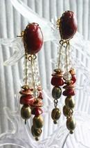 Jasper Red & Clear Gold-tone Waterfall Pierced Earrings 1970s vintage 2 ... - $12.30