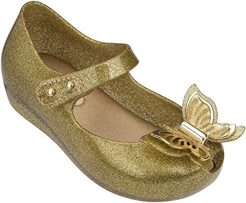 Melissa Girls Mini Ultragirl Fly Mary Jane Flat Champagne Glitter Size 5 M US To