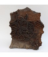 LARGE WOODEN HAND BLOCK PRINTING HAND CURVED STAMP DESIGN PRE OWNED CRAFT - $63.21