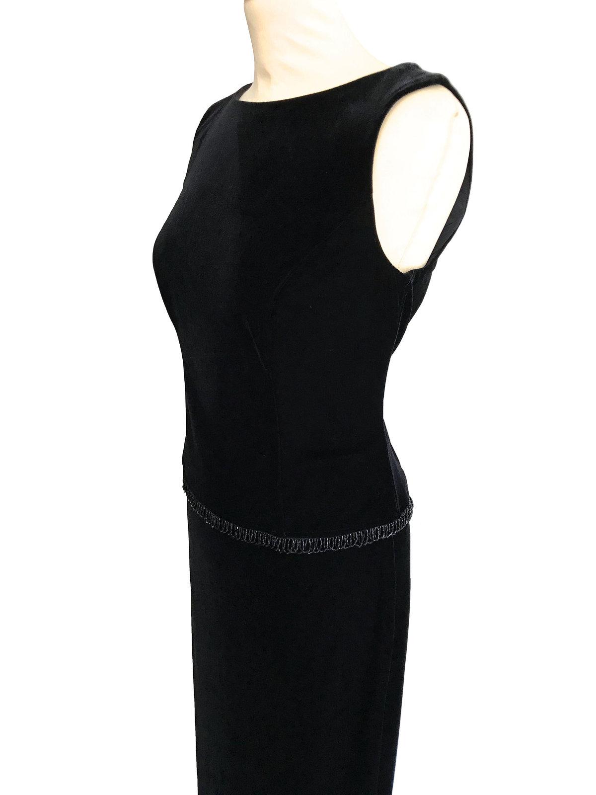 80s Black Velvet Stretch Beaded Boat Neck Sleeveless Evening Formal Maxi LBD Dre image 5