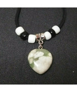 Necklace with Peace Stone Heart Pendant Natural Stone Great Gift Ideal - $14.36